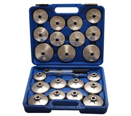 Juego 23 piezas de cazoletas para extraer filtros de aceite, aluminio diecast (Art. 1035)