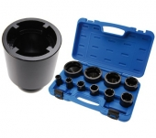 Juego 10 pzs. de vasos con almenado interior para tuercas ranuradas, 26-88 mm (Art. 8266)