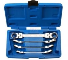 Juego 4 piezas de llaves planas dobles con carraca, articuladas,10-19 mm (Art. 30990)