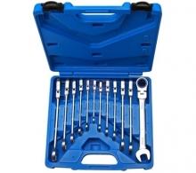 Juego 12 piezas de llaves combinadas con carraca articulada hasta 90º de inclinación, 8-19 mm (Art. 30950)