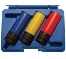 Juego 3 piezas vasos de impacto con protector de plástico 1/2, 17 - 19 - 21 mm (Art. 7300)