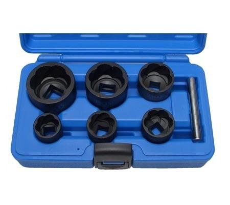 Juego 6 piezas de llaves de vaso extractoras en espiral, 22-41 mm, 1/2