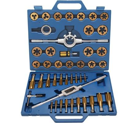 Juego 45 piezas de machos y terrajas de acero al volframio, con cobertura de titanio (Art. 1899)